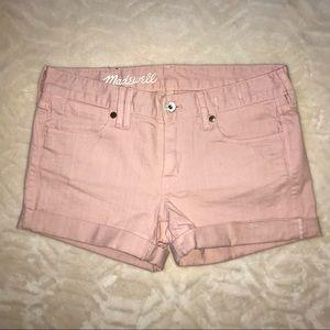 MADEWELL Pink Cuffed Denim Raw Hem Short Sz 25
